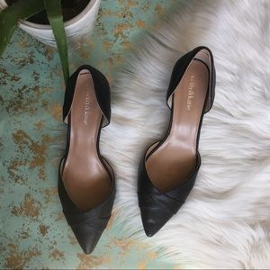 Kelly and Katie black pointed faux leather heels